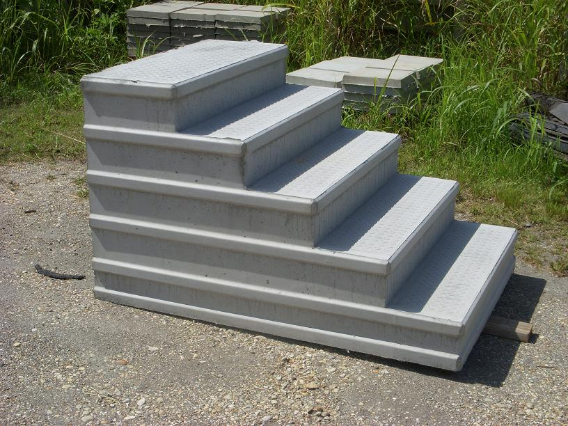 The diamond-plate pattern of our precast concrete steps was and innovation of our founder over 30 years ago.